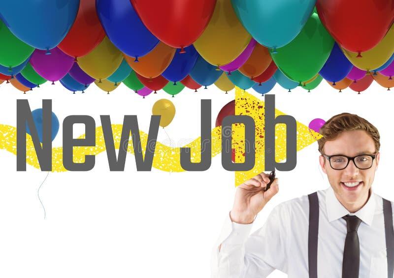 Ung lycklig affärsman med ballonger bak att skriva NYTT JOBB på skärmen royaltyfria bilder