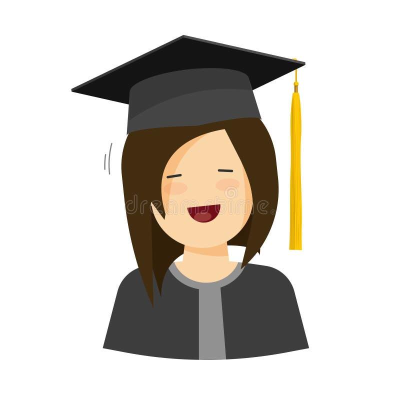 Ung lycklig illustration för studentflickavektor på vit bakgrund stock illustrationer