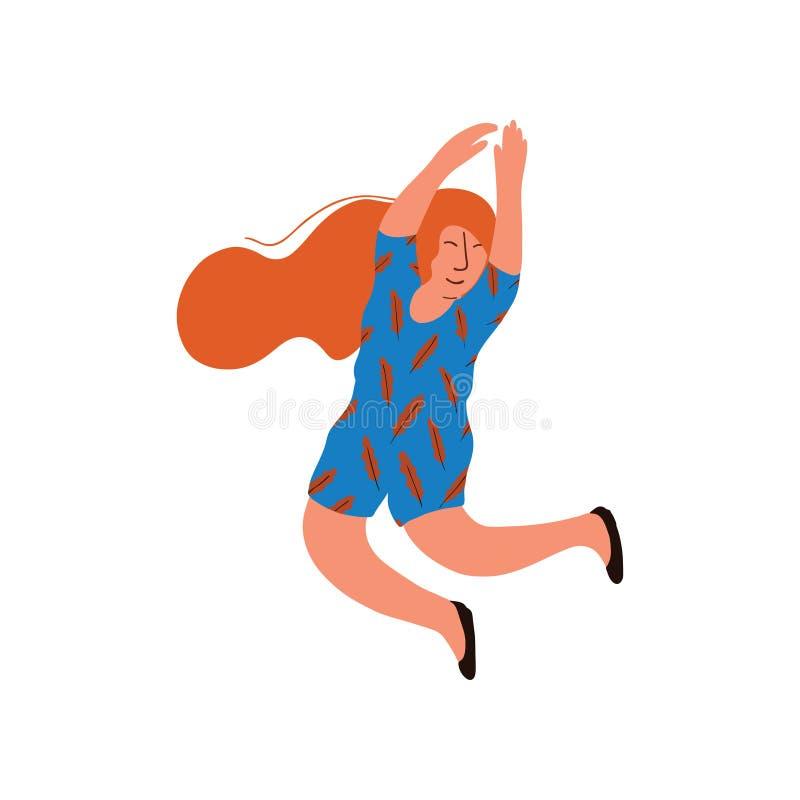 Ung lycklig kvinna med långt rött hår som bär den blåa klänningvektorillustrationen royaltyfri illustrationer