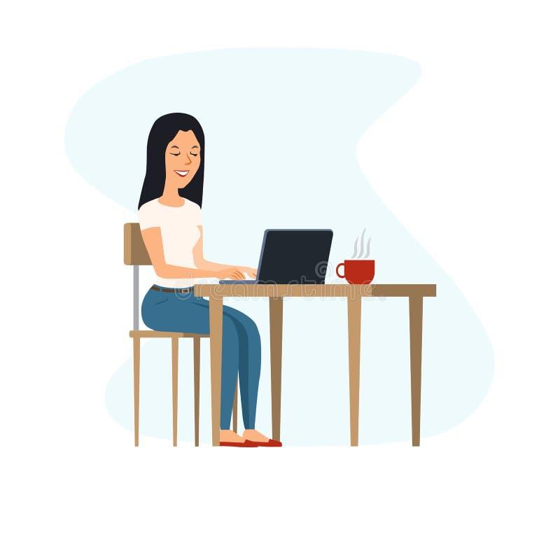 Ung lycklig kvinna som sitter på tabellen och arbetar på en bärbar dator vektor illustrationer