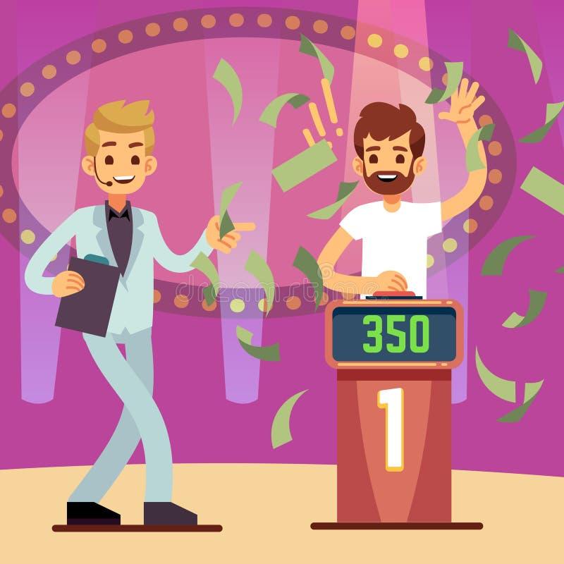 Ung lycklig vinnare för frågesportlek i illustrationen för pengarregnvektor stock illustrationer