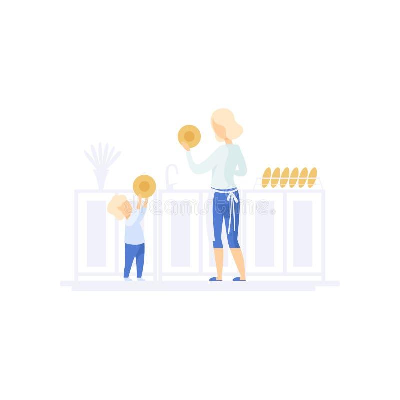 Ung mamma och hennes lilla sontvagningdisk i köket, illustration för vektor för familjlivsstilbegrepp på en vit stock illustrationer