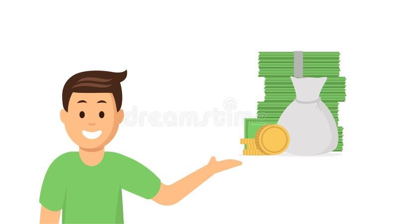 Ung man för tecknad film som pekar på pengar royaltyfri illustrationer