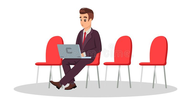 Ung man i den formella dräkten som sitter på stol med bärbara datorn Frilans- coworking begrepp vektor illustrationer