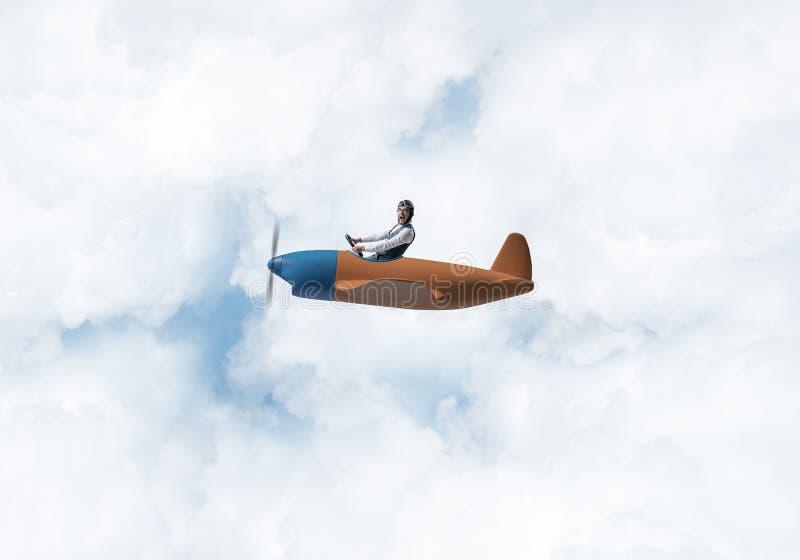 Ung man i flygarehatt med skyddsglas?gon stock illustrationer