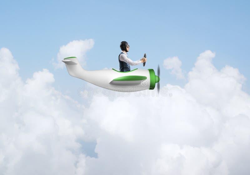 Ung man i flygarehatt med skyddsglas?gon vektor illustrationer