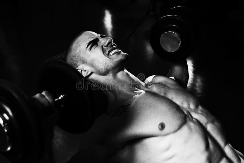 Ung man i idrottshall som övar bröstkorgen med hantlar arkivbild