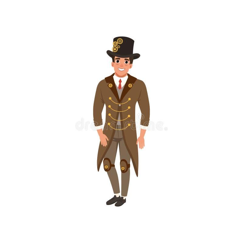 Ung man i steampunkdräkt Gladlynt grabb i lång omslag för tappning, skjorta, band, väst, flåsanden och flygturhatt med kugghjul p royaltyfri illustrationer