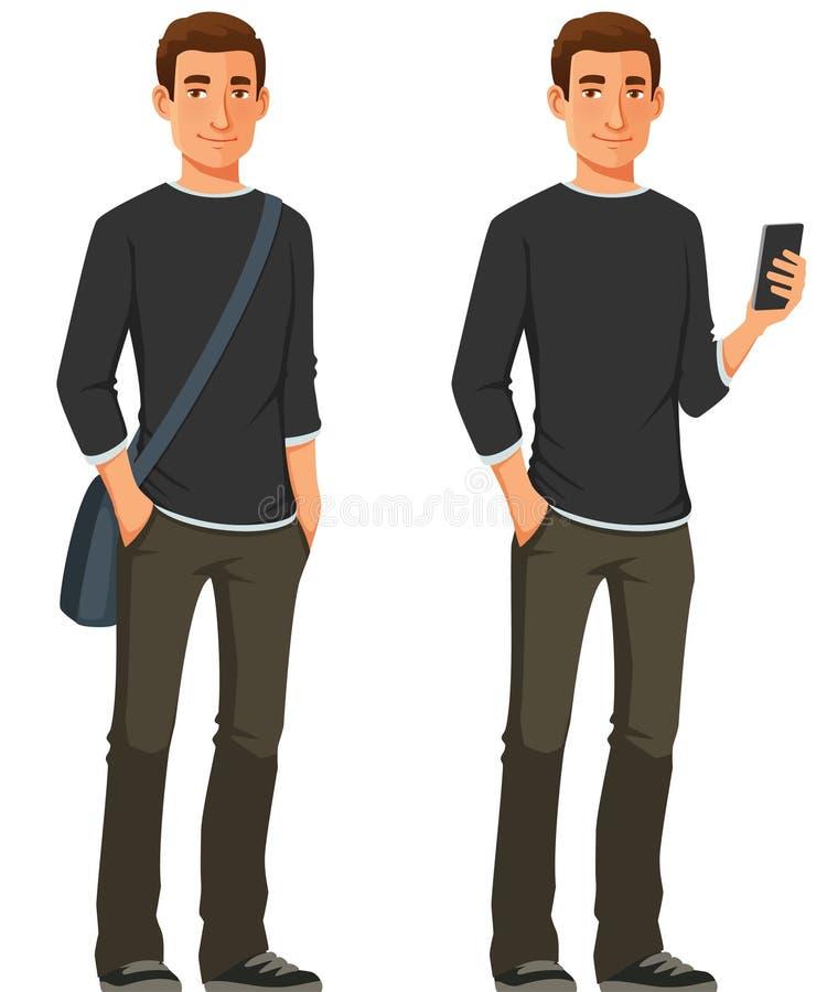 Ung man i tillfällig kläder stock illustrationer