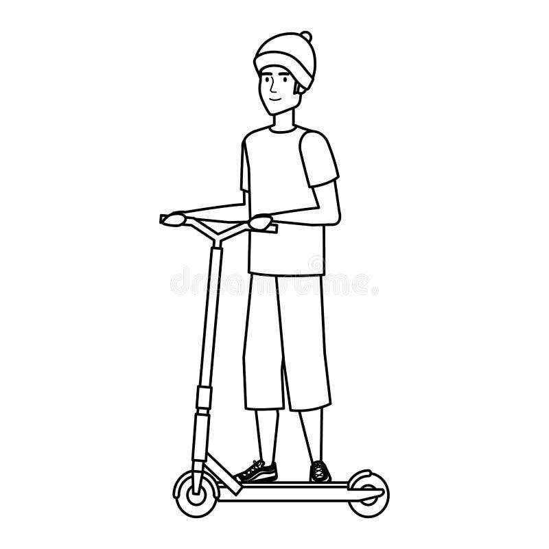 Ung man i vikande sparkcykel royaltyfri illustrationer