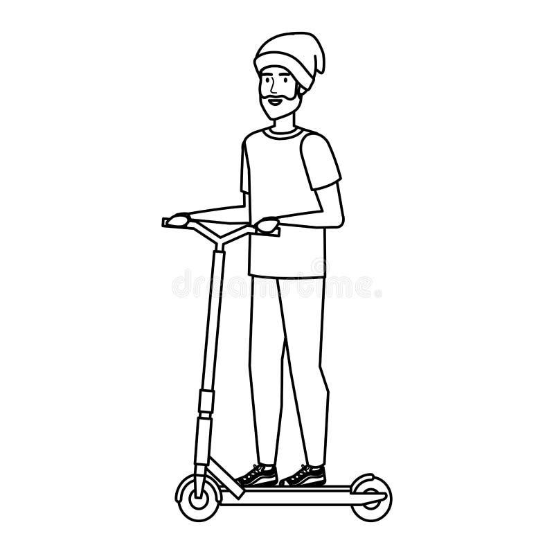 Ung man i vikande sparkcykel vektor illustrationer