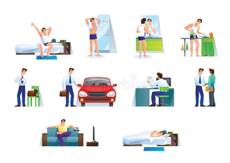 Ung man, kontorsarbetare, tecken, i olika livlägen royaltyfri illustrationer