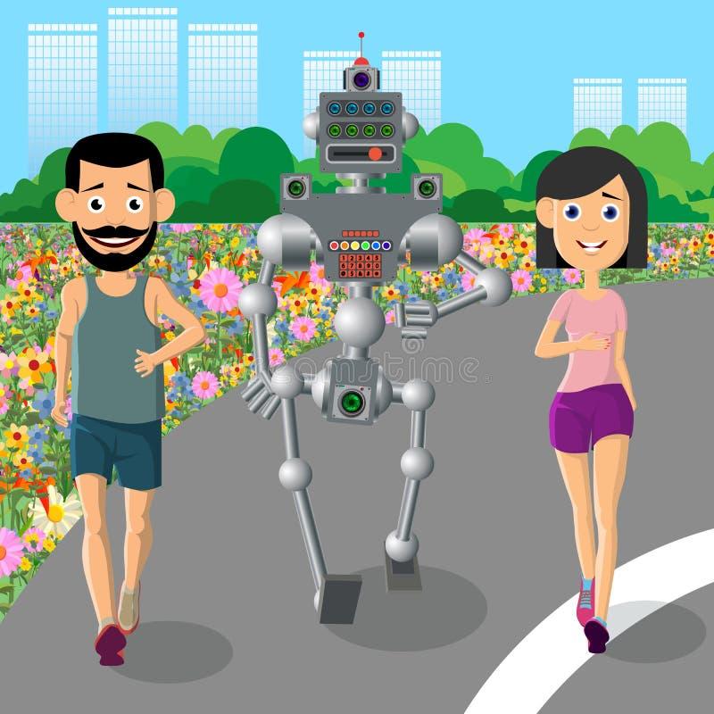 Ung man, kvinnaleksportar med en robot royaltyfri illustrationer
