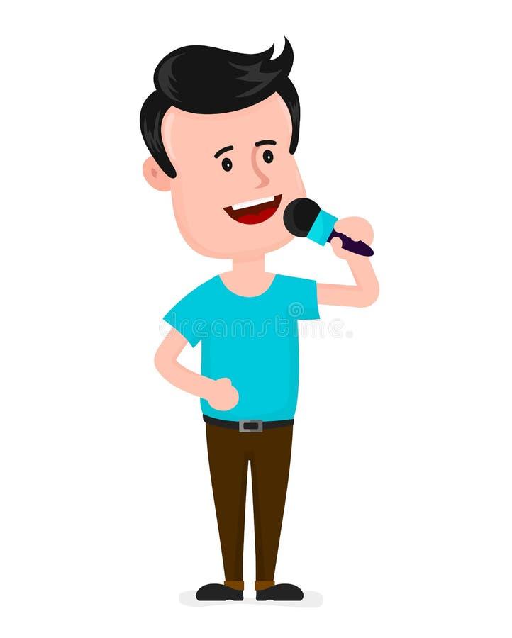 Ung man med att sjunga för mikrofon vektor illustrationer