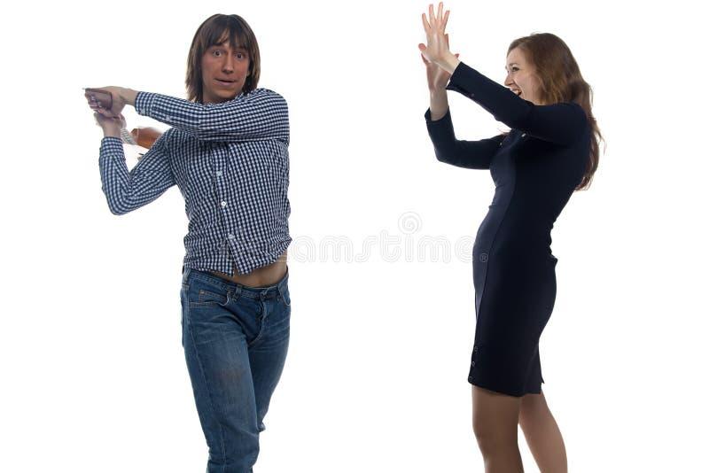 Ung man med balalajkan och kvinnan royaltyfri foto