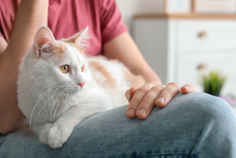 Ung man med den gulliga katten arkivbild
