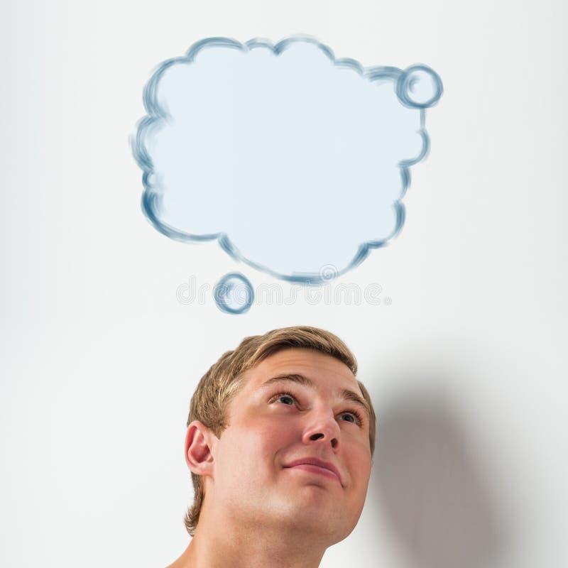 Ung man med en tom anförandebubbla över hans huvud arkivbilder