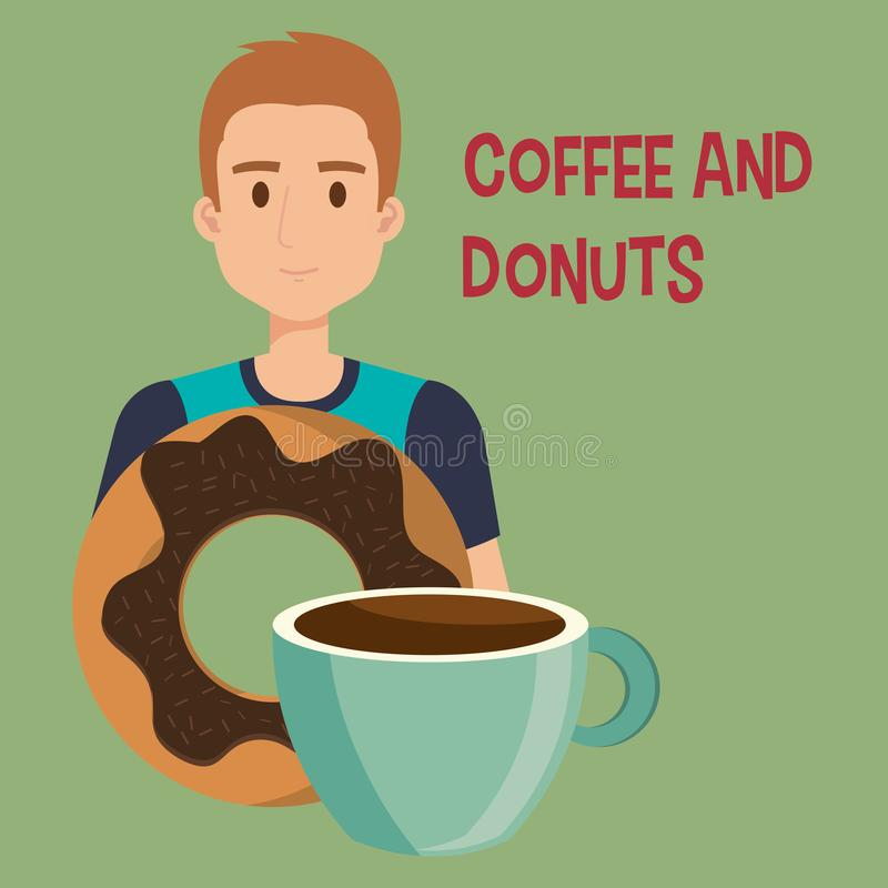 Ung man med kaffe och donuts stock illustrationer