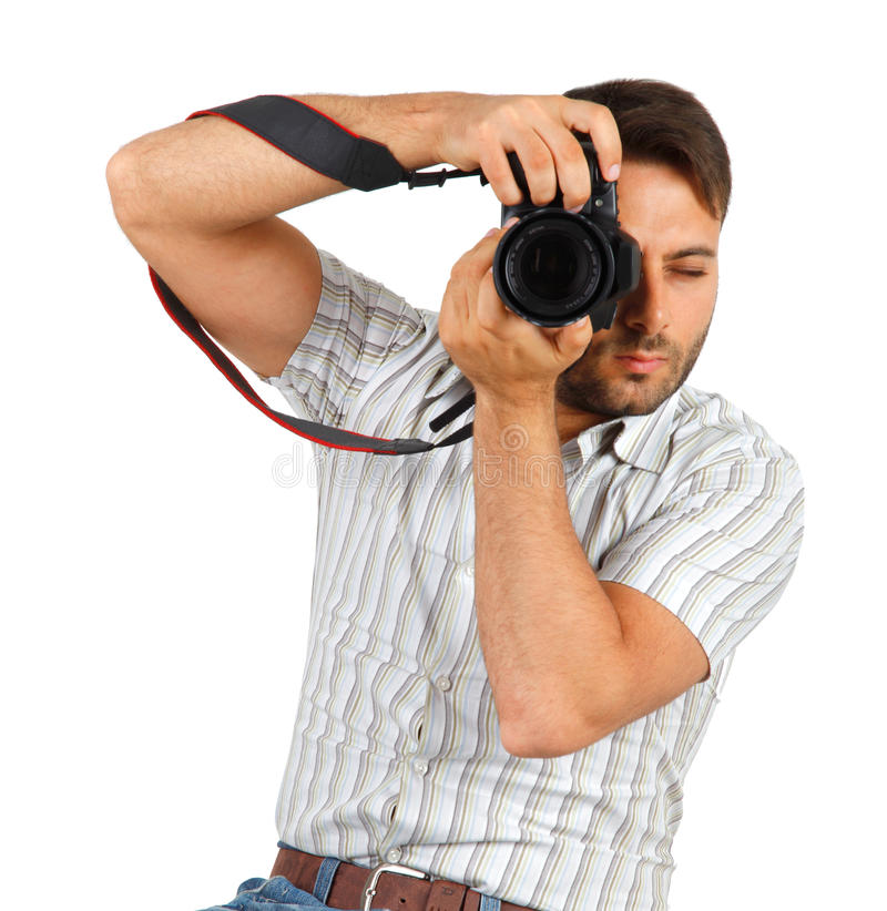 Ung man med kameran arkivfoto