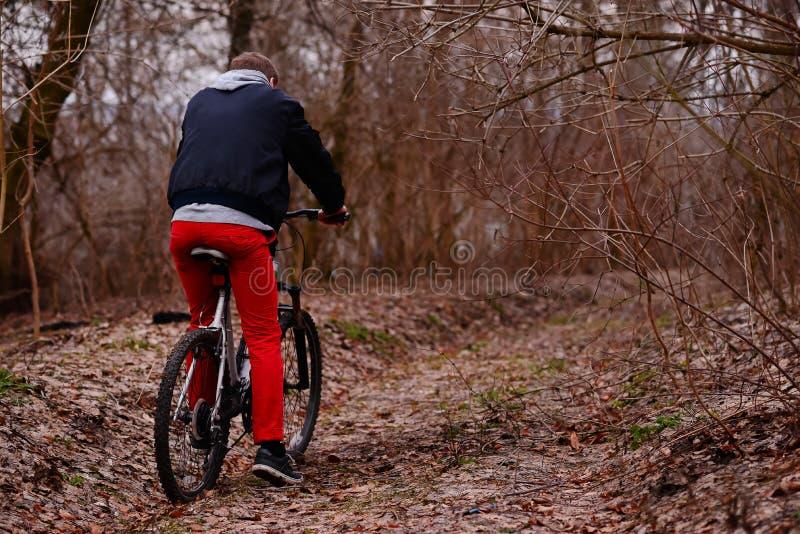 Ung man med ryggsäckridningcykeln på bergvägen i skogen arkivfoto