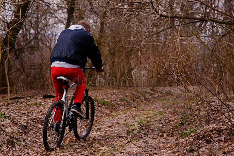 Ung man med ryggsäckridningcykeln på bergvägen i skogen arkivbilder