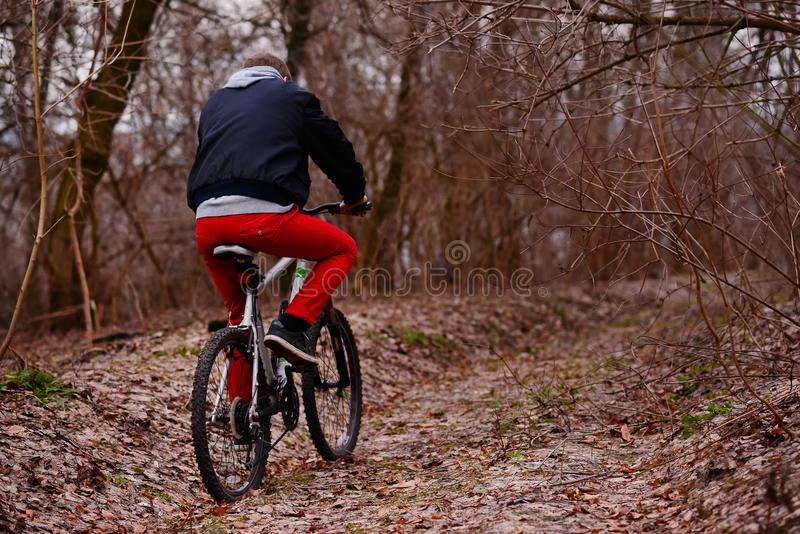 Ung man med ryggsäckridningcykeln på bergvägen i skogen royaltyfri fotografi