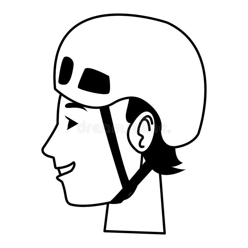 Ung man med tecknade filmen för sporthjälmhuvud i svartvitt stock illustrationer