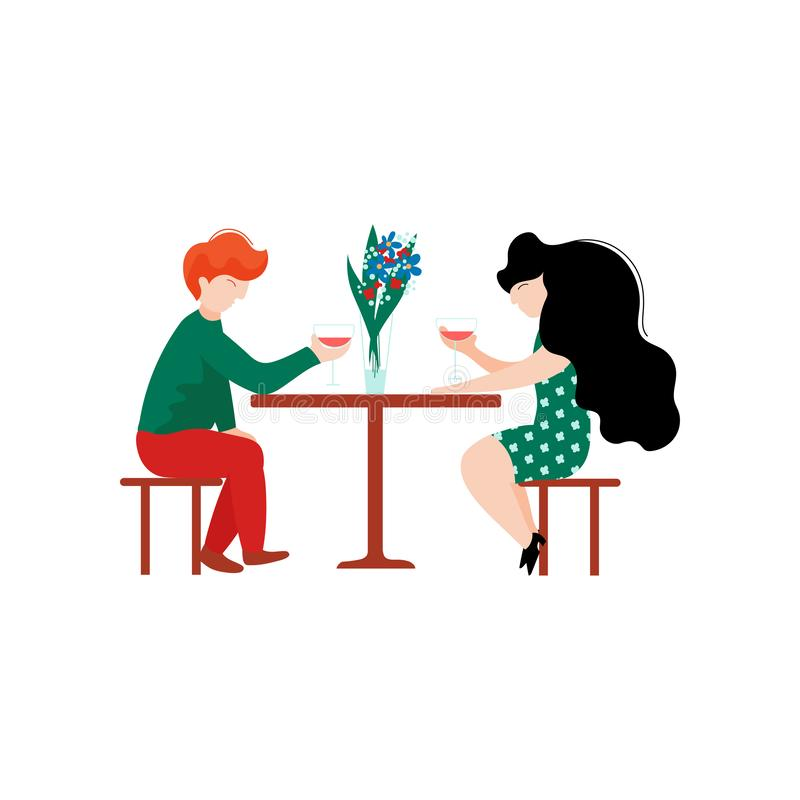 Ung man och härlig kvinna som sitter i kafét som dricker vin, romantiskt par, lyckliga vänner på datumvektorillustration vektor illustrationer