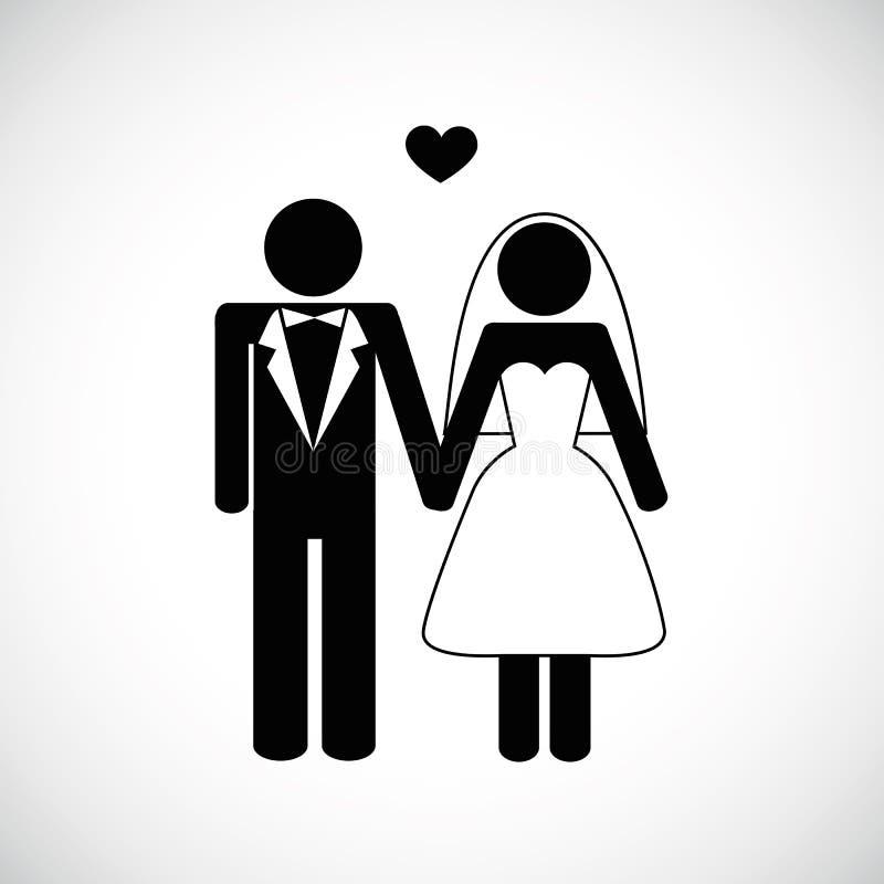 Ung man och kvinna för bröllopparpictogram royaltyfri illustrationer