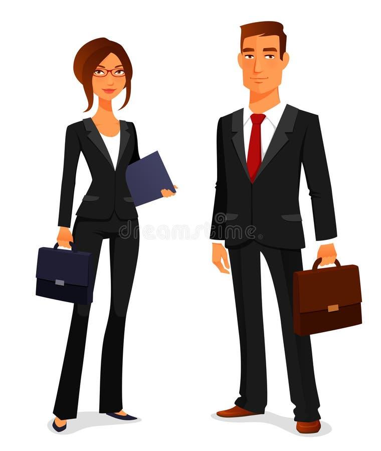 Ung man och kvinna i affärsdräkt stock illustrationer