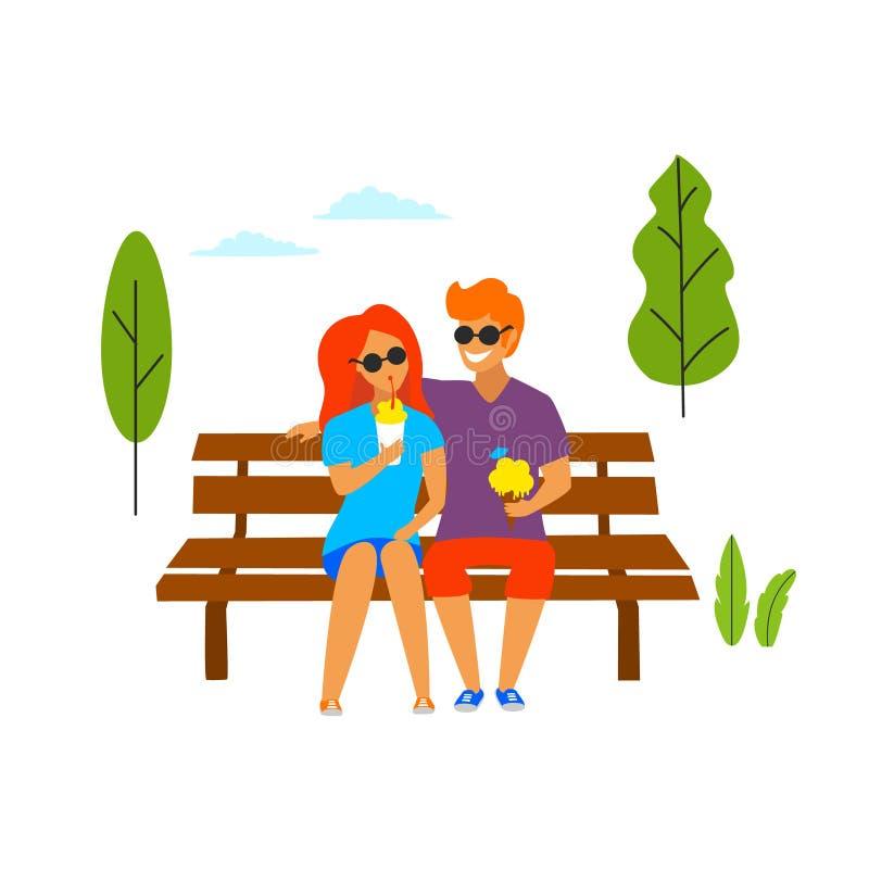 Ung man och kvinna på ett datum i parkera som äter glass som flörtar den isolerade vektorillustrationen royaltyfri illustrationer