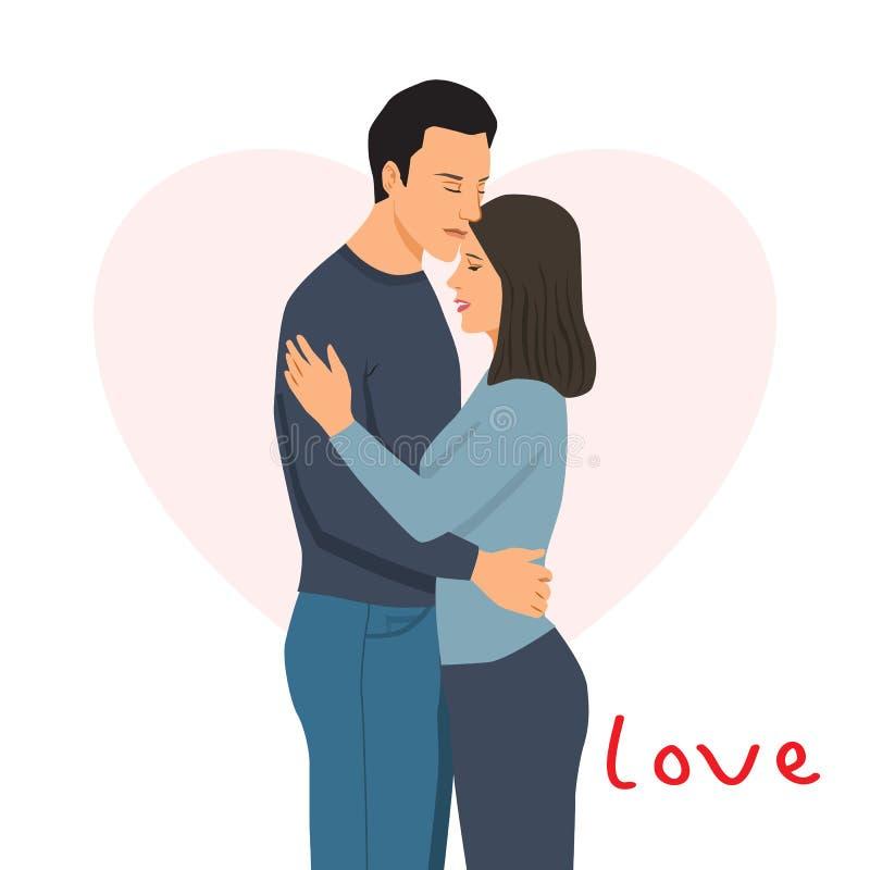 Ung man och kvinna som kramar mot bakgrunden av en rosa hjärta, kännande förälskelse för de vektor illustrationer