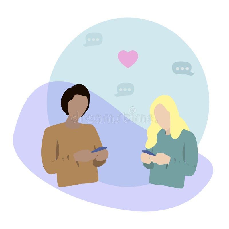 Ung man och kvinna som ser deras telefoner och ?verf?r meddelanden till och med applikation Begrepp av att söka efter ett datum royaltyfri illustrationer