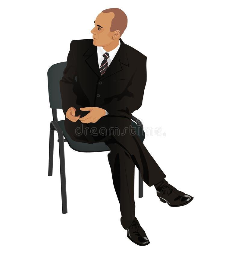Ung man på affärsdräkten som i regeringsställning sitter isolerad stol på w arkivfoto