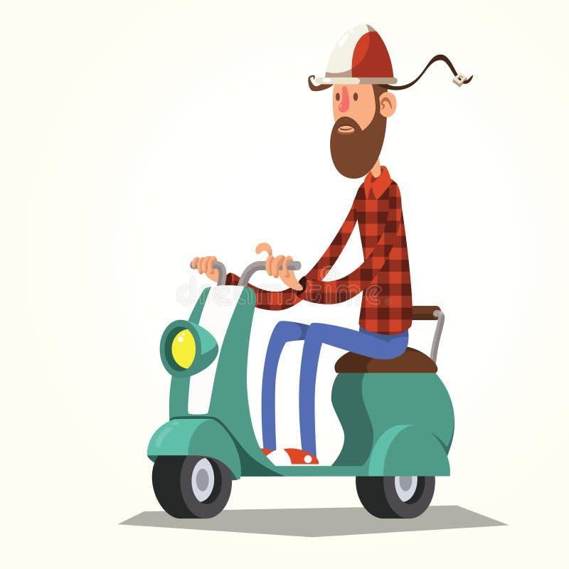 Ung man på sparkcykeln stock illustrationer