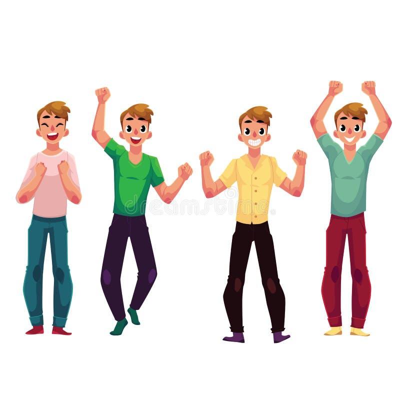 Ung man, pojke, fröjd, bifall, fira som uppe i luften griper hårt om nävar stock illustrationer