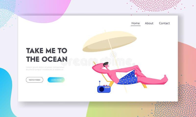 Ung man som är slö på Chaise Lounge under solparaplyet på havsstranden på den sommarTid semestern Turist- koppla av på bado royaltyfri illustrationer