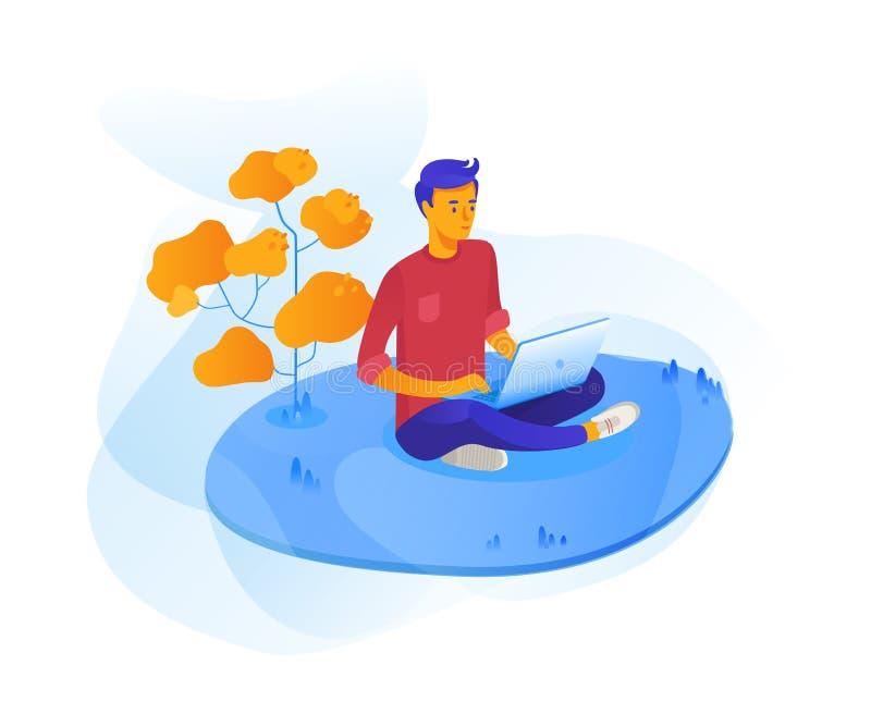 Ung man som är utomhus- med bärbar datorvektorillustrationen vektor illustrationer