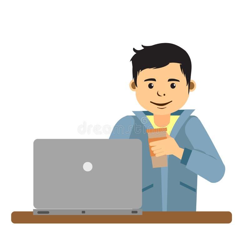 Ung man som arbetar på internet genom att använda bärbara datorn och dricka kaffe vektor illustrationer