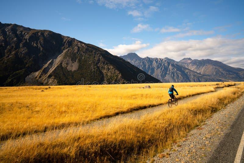 Ung man som cyklar mountainbiket längs den lantliga slingan royaltyfri fotografi