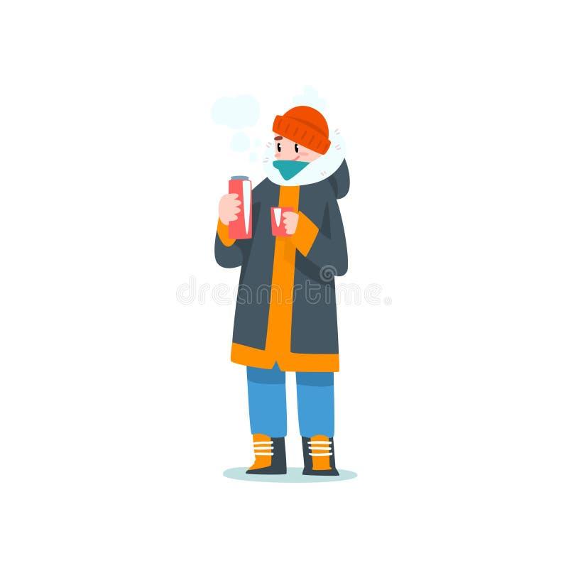 Ung man som dricker varmt te från termoset, utomhus- fritid, extremal isvinter som fiskar vektorillustrationen stock illustrationer