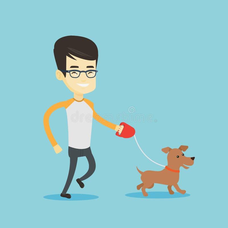 Ung man som går med hans hund vektor illustrationer