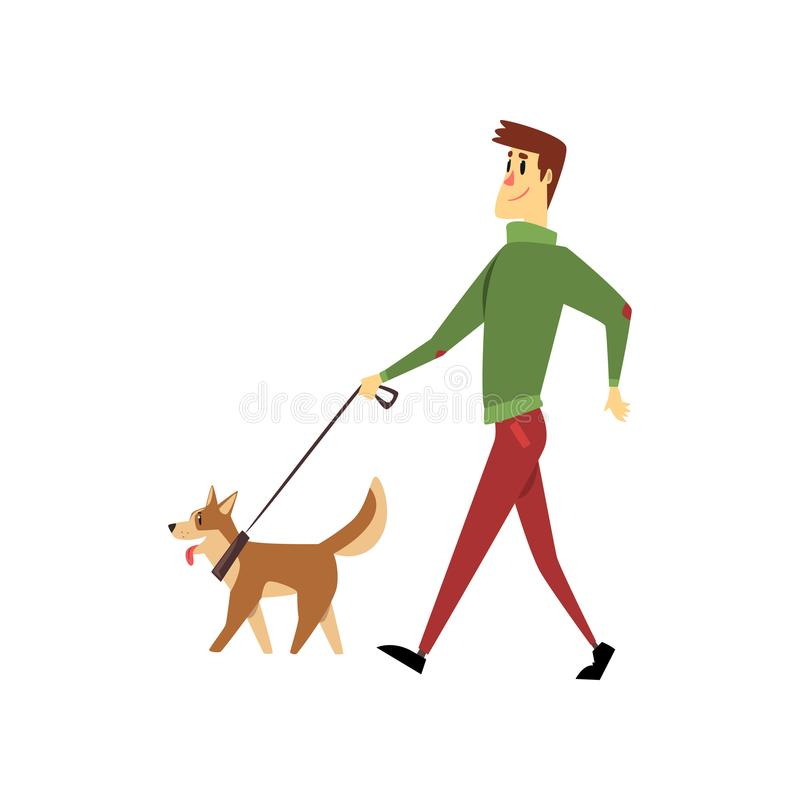 Ung man som går med hans hundkapplöpning, gulliga husdjur med dess ägarevektorillustration på en vit bakgrund royaltyfri illustrationer