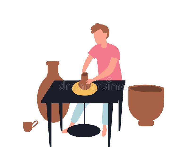 Ung man som gör krukor med lera Krukmakeri och keramik Gullig rolig man och hans hobby för aktivitet för tidsfördriv idérika elle royaltyfri illustrationer