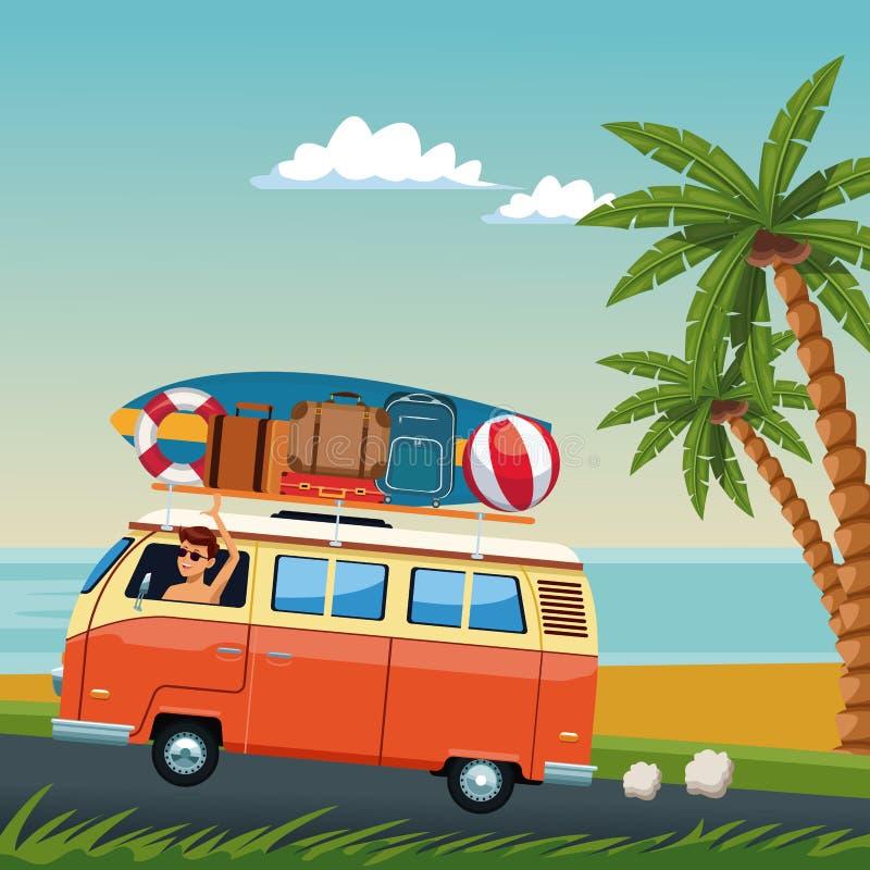 Ung man som kör bränningskåpbilen till stranden stock illustrationer