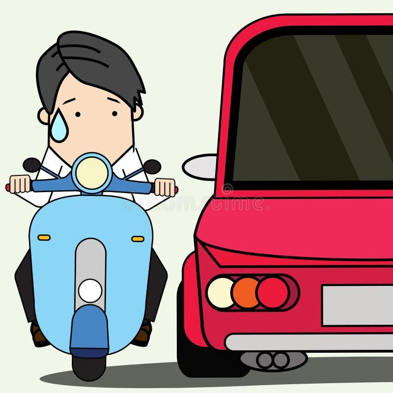 Ung man som kör en motorcykel med stor varning vektor illustrationer