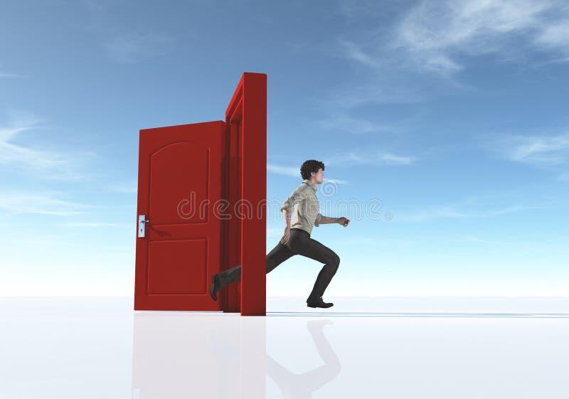 Ung man som kör till en öppnad dörr stock illustrationer