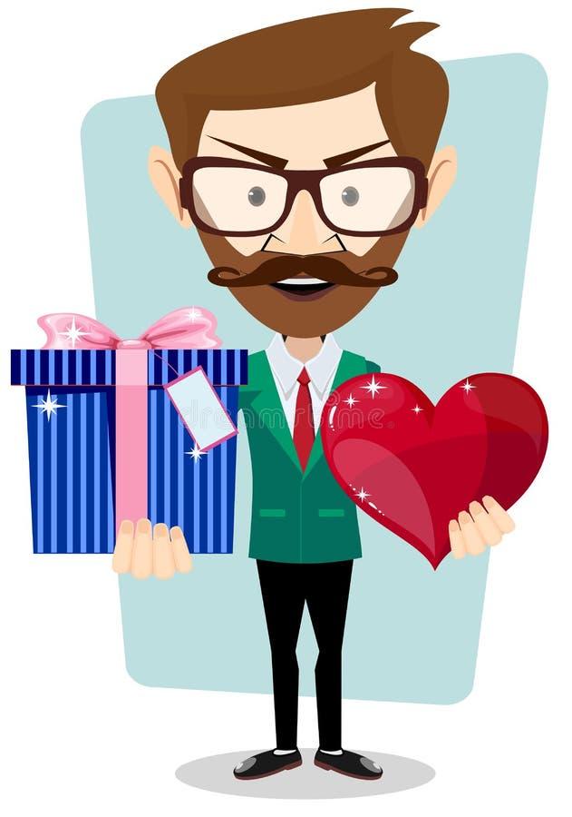 Ung man som ler och att rymma gåvan och hjärta royaltyfri illustrationer