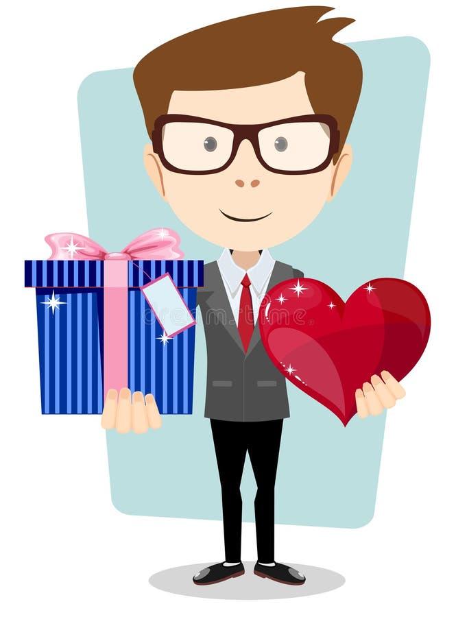 Ung man som ler och att rymma gåvan och hjärta vektor illustrationer