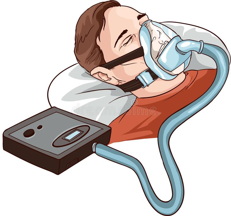 Ung man som ligger på säng med att sova Apnea och CPAP royaltyfri illustrationer